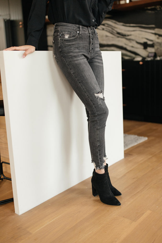 Gray Days Button Rise Jeans - Women's Clothing AfterPay Sezzle KanCan Judy Blue Simply Sass Boutique
