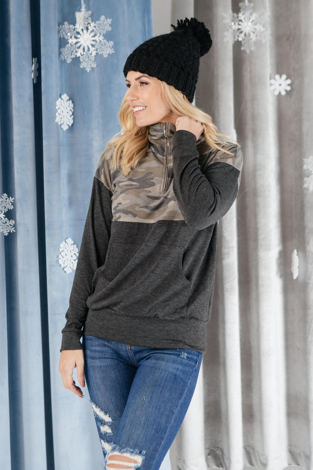 Half Camo Pullover in Charcoal - Women's Clothing AfterPay Sezzle KanCan Judy Blue Simply Sass Boutique