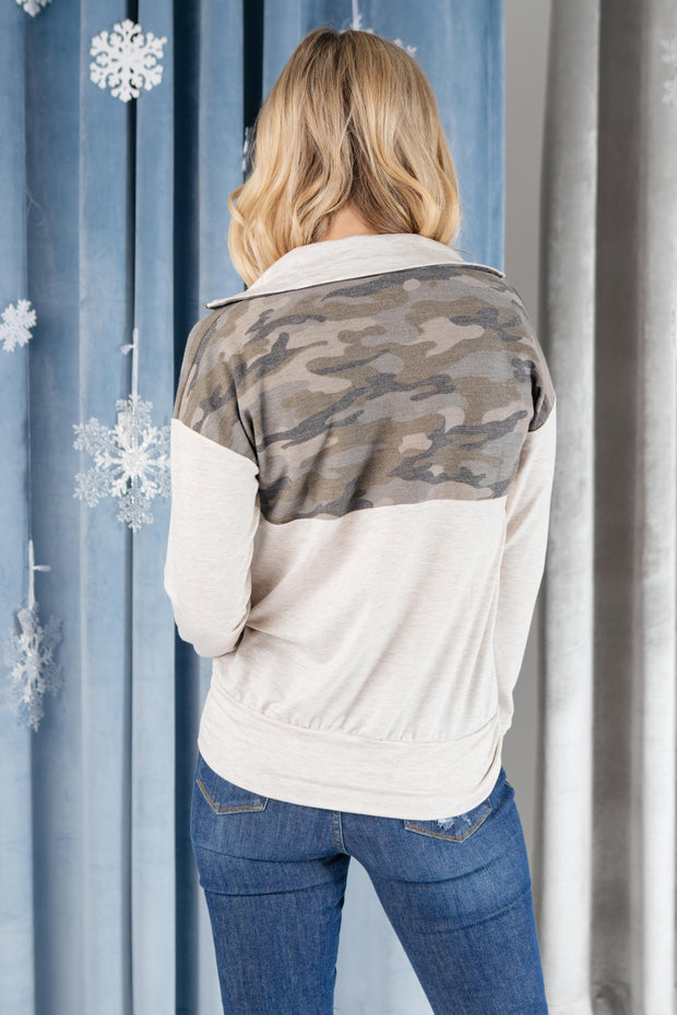 Half Camo Pullover in Oatmeal - Women's Clothing AfterPay Sezzle KanCan Judy Blue Simply Sass Boutique