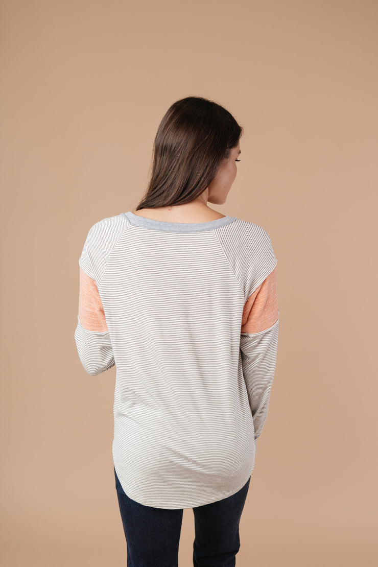Home Base Contrast Long Sleeve Top In Heather Gray - Women's Clothing AfterPay Sezzle KanCan Judy Blue Simply Sass Boutique