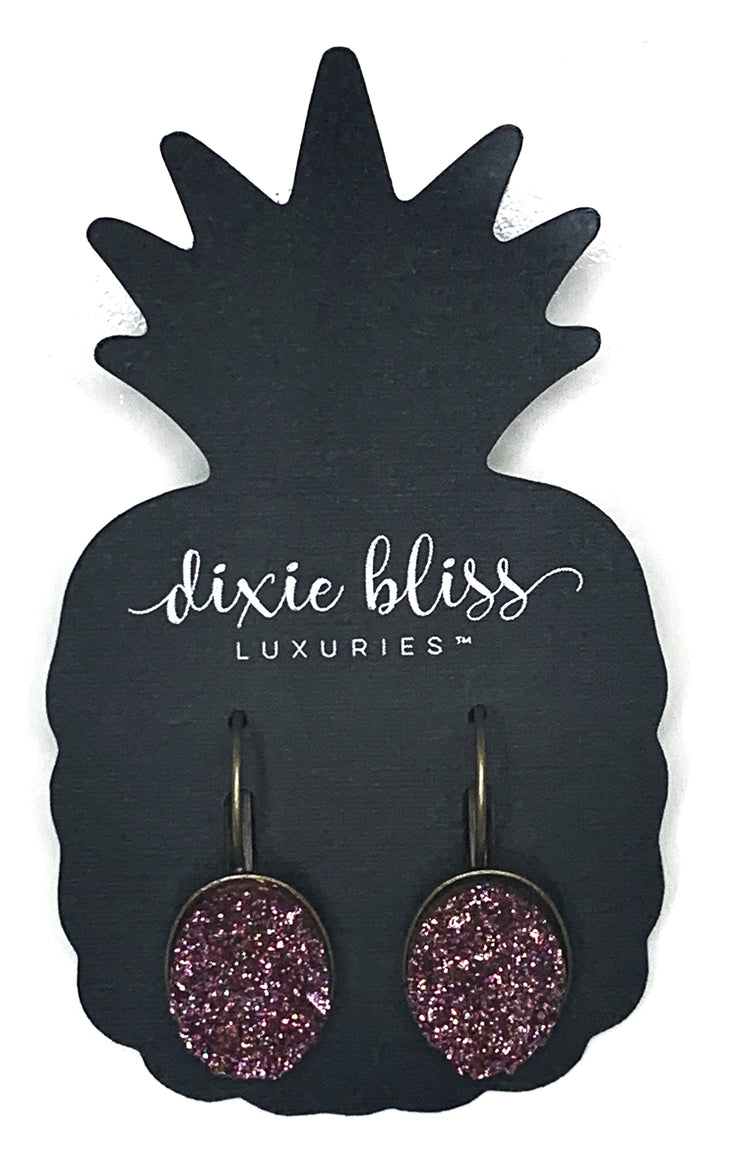 Leverback Drop Druzy - Brilliant Magenta - Simply Sass Boutique