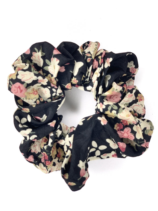 Hair Scrunchie - Black Floral - Women's Clothing AfterPay Sezzle KanCan Judy Blue Simply Sass Boutique
