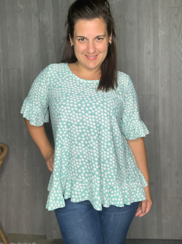 Geranium - Mint Polka Dot - Women's Clothing AfterPay Sezzle KanCan Judy Blue Simply Sass Boutique
