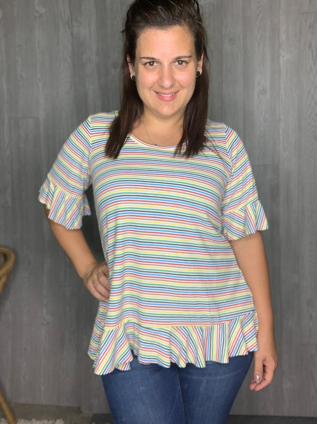 Geranium - Rainbow Stripe - Women's Clothing AfterPay Sezzle KanCan Judy Blue Simply Sass Boutique