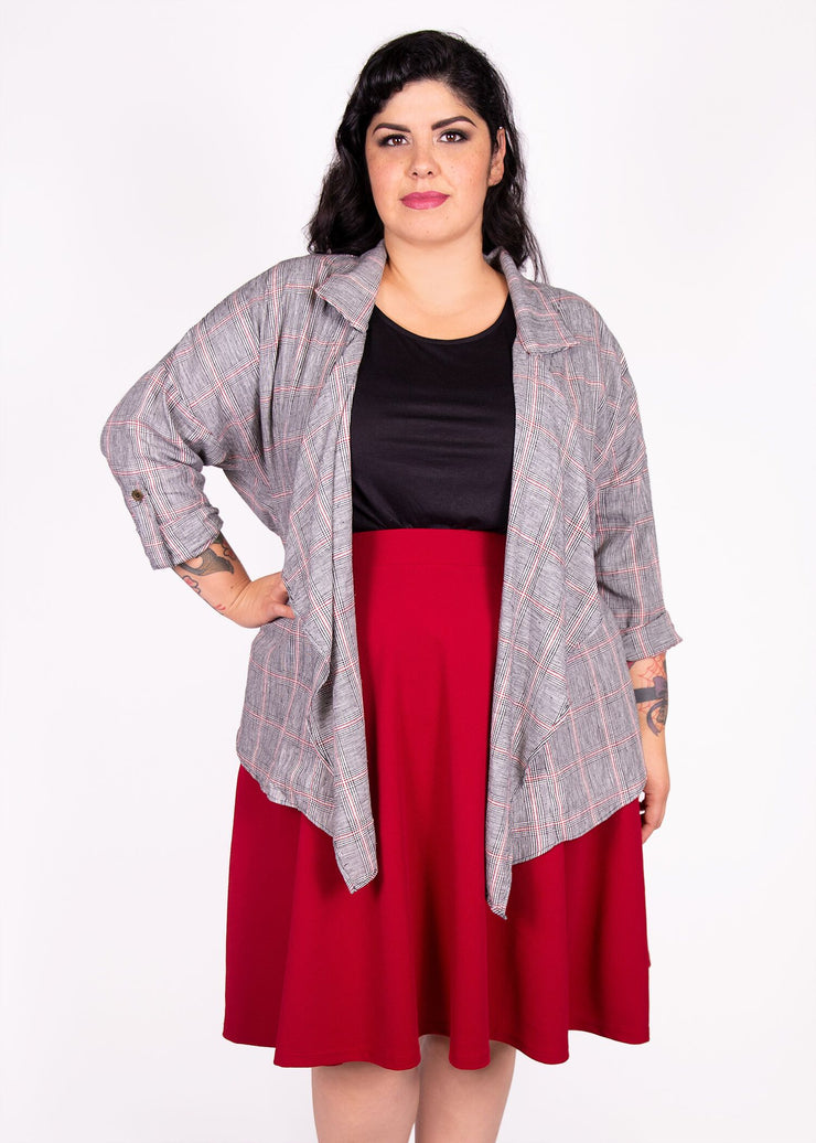 Shacket - Grey and Red Plaid - Women's Clothing AfterPay Sezzle KanCan Judy Blue Simply Sass Boutique