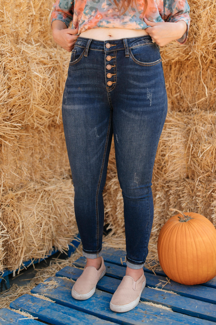 Just A Button Rise Jeans - Women's Clothing AfterPay Sezzle KanCan Judy Blue Simply Sass Boutique