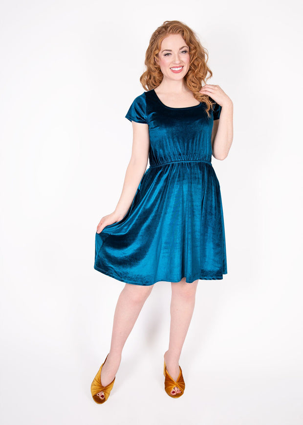 Daffodil Dress - Teal Velvet - Women's Clothing AfterPay Sezzle KanCan Judy Blue Simply Sass Boutique
