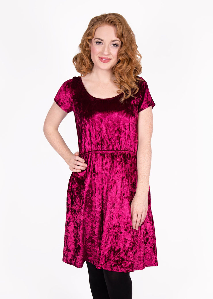 Daffodil Dress - Burgundy Velvet - Women's Clothing AfterPay Sezzle KanCan Judy Blue Simply Sass Boutique