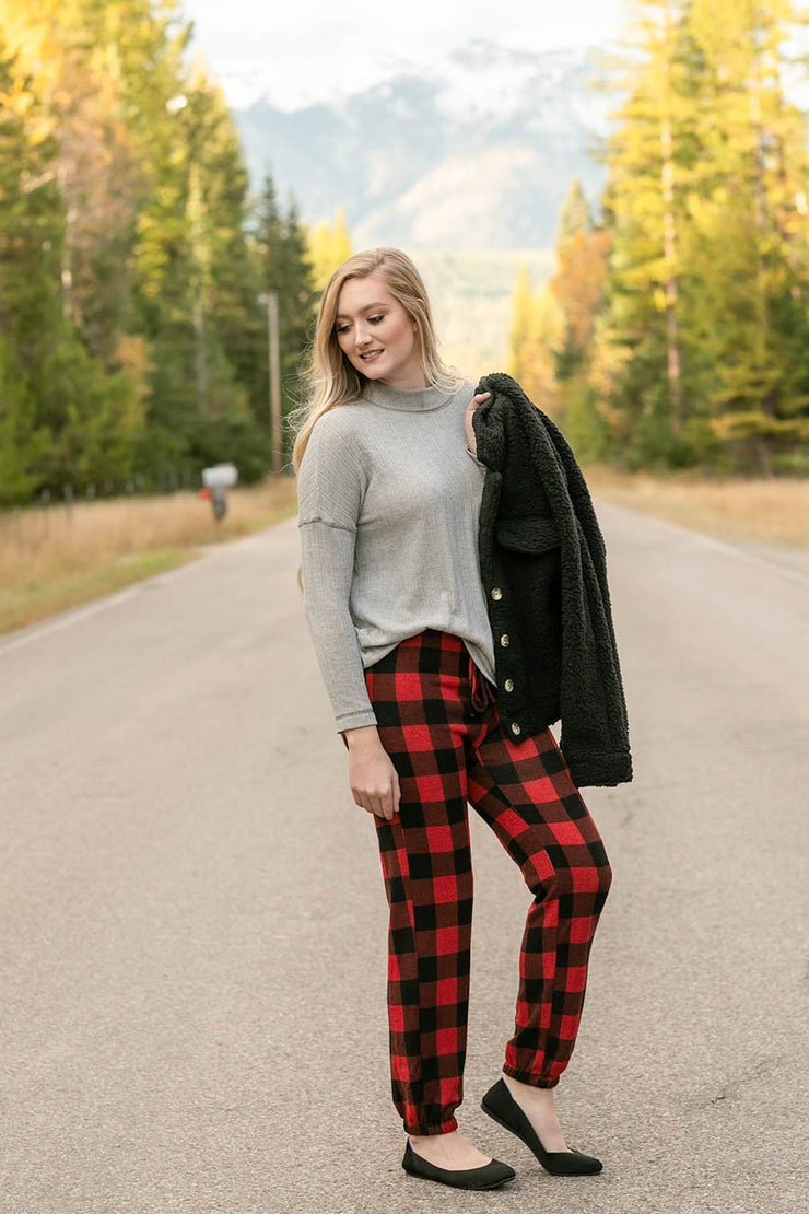 Winter In The Rockies Plaid Joggers - Women's Clothing AfterPay Sezzle KanCan Judy Blue Simply Sass Boutique