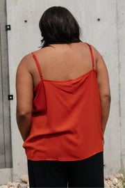Lace Applique Camisole In Burnt Orange - Women's Clothing AfterPay Sezzle KanCan Judy Blue Simply Sass Boutique