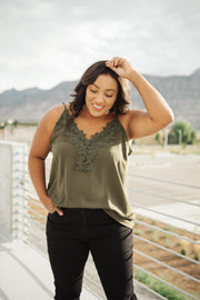 Lace Applique Camisole In Olive - Women's Clothing AfterPay Sezzle KanCan Judy Blue Simply Sass Boutique