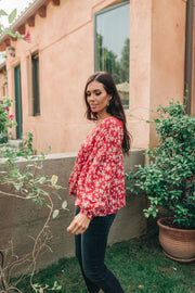 Lace Trimmed Floral Blouse - Women's Clothing AfterPay Sezzle KanCan Judy Blue Simply Sass Boutique