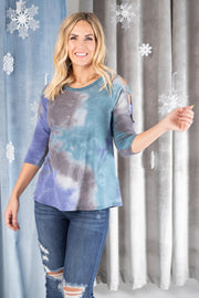 Leslie Ladder Sleeve Top in Blue - Women's Clothing AfterPay Sezzle KanCan Judy Blue Simply Sass Boutique