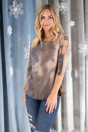 Leslie Ladder Sleeve Top in Mocha - Women's Clothing AfterPay Sezzle KanCan Judy Blue Simply Sass Boutique