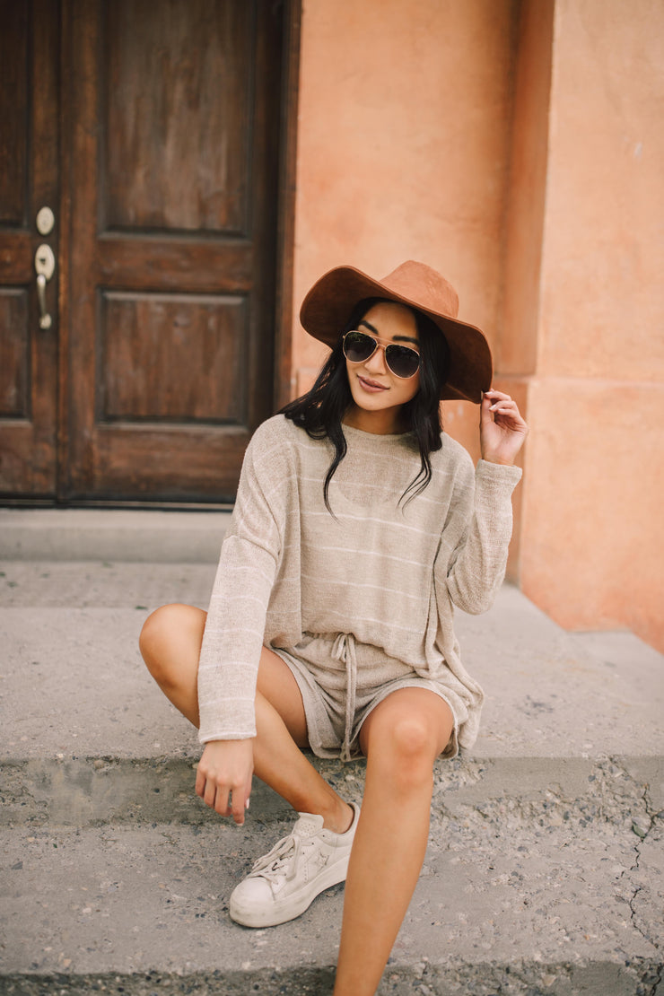 Lightweight Striped Shorts In Taupe - Simply Sass Boutique