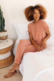 Luxurious Loungewear Top In Terracotta - Women's Clothing AfterPay Sezzle KanCan Judy Blue Simply Sass Boutique