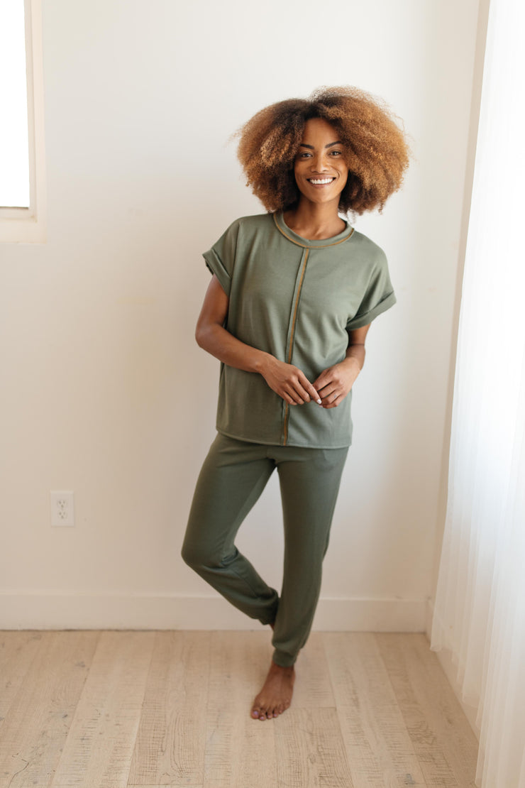 Luxurious Loungewear Top In Olive - Women's Clothing AfterPay Sezzle KanCan Judy Blue Simply Sass Boutique