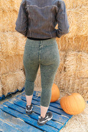 Mineral Wash Minimalist Pants in Hunter Green - Women's Clothing AfterPay Sezzle KanCan Judy Blue Simply Sass Boutique