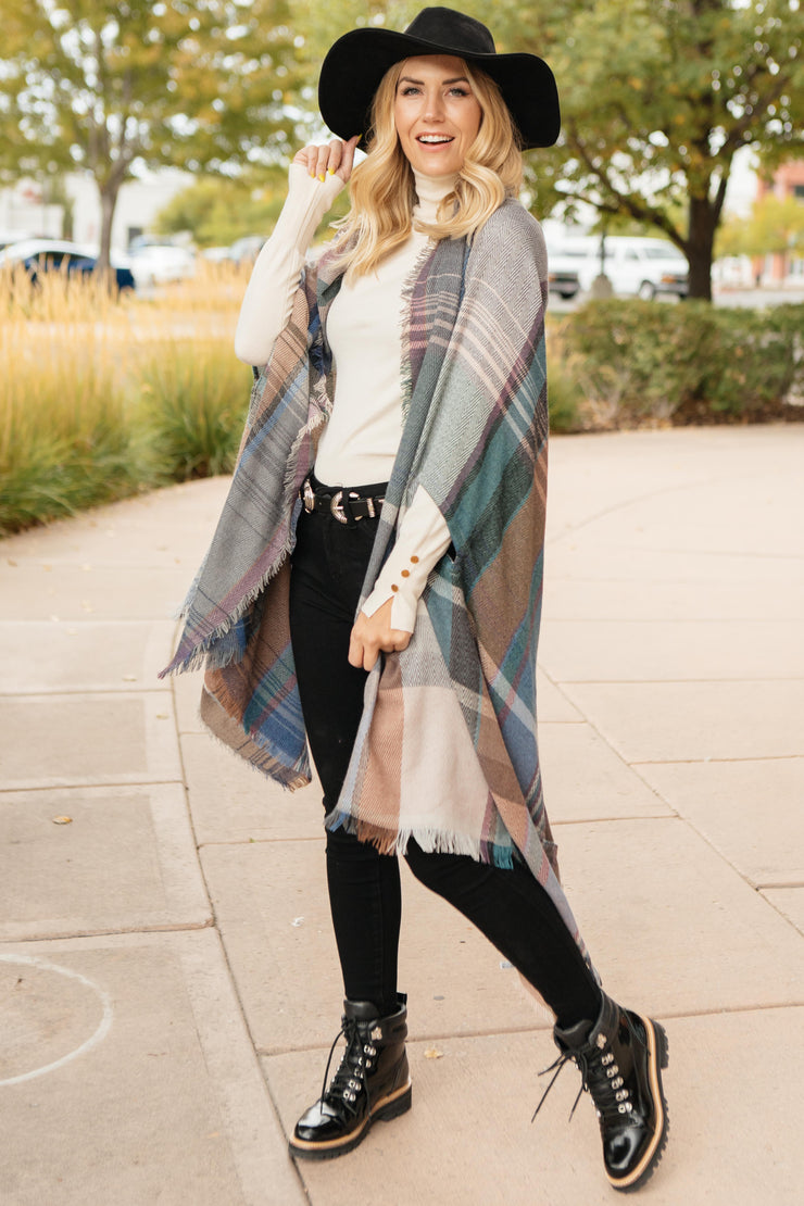 Nacho Basic Poncho in Light Gray - Women's Clothing AfterPay Sezzle KanCan Judy Blue Simply Sass Boutique