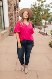 Nice Surprise Surplice Knit Top In Hot Pink - Simply Sass Boutique
