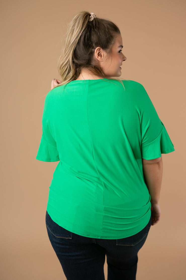 Nice Surprise Surplice Knit Top In Kelly Green - Simply Sass Boutique