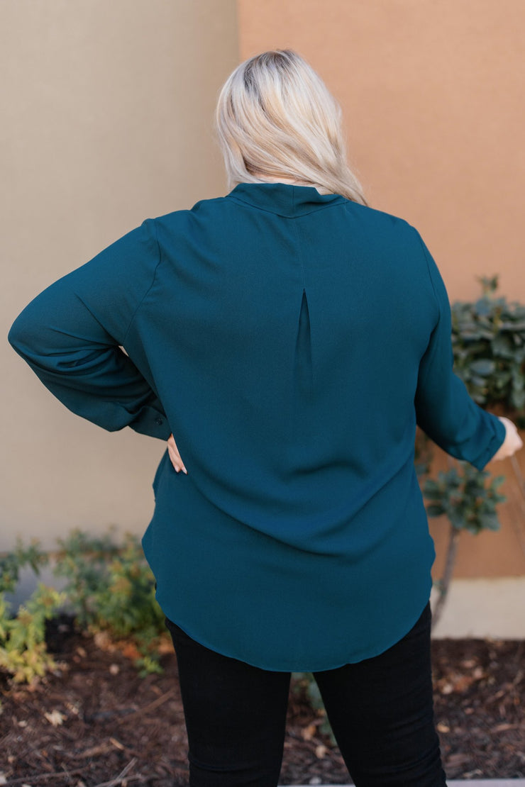 Office Miss Top in Teal - Women's Clothing AfterPay Sezzle KanCan Judy Blue Simply Sass Boutique