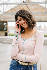 On The Edge Of Spring Top In Blush - Simply Sass Boutique