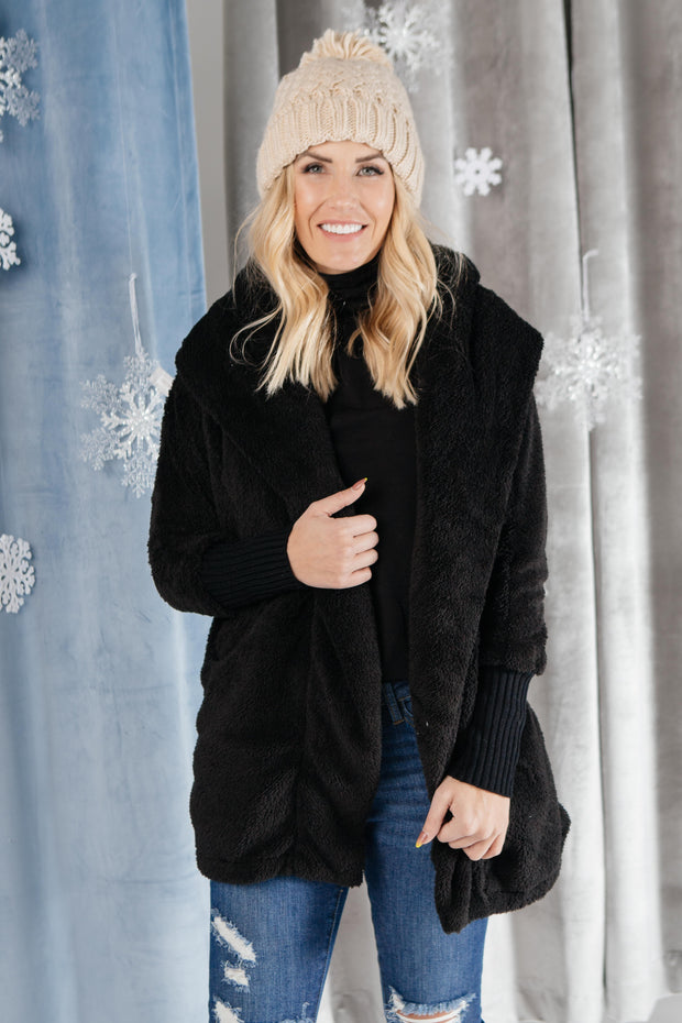 Overly Cozy Cardigan in Black - Women's Clothing AfterPay Sezzle KanCan Judy Blue Simply Sass Boutique