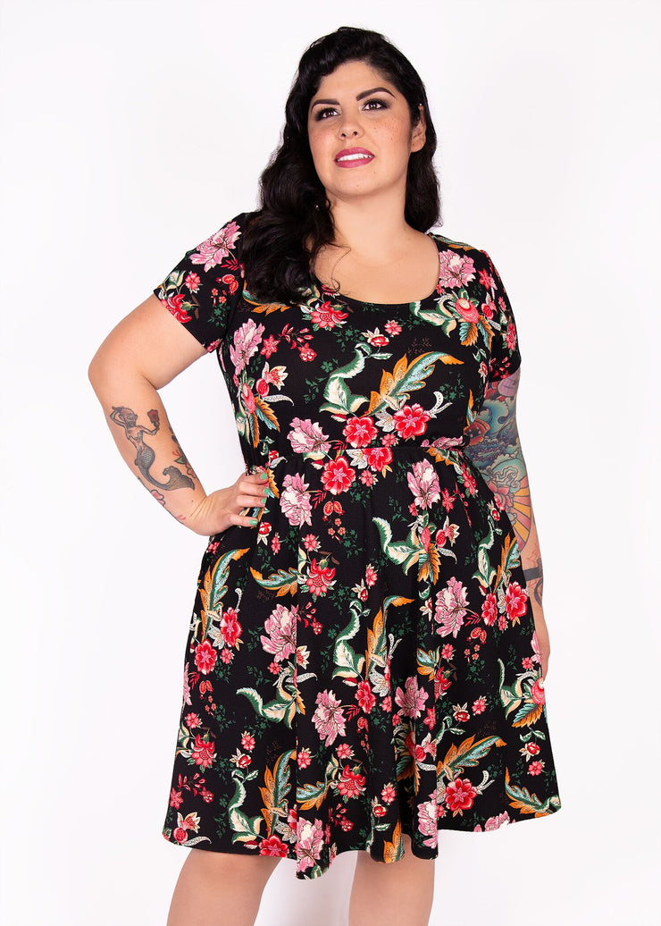 Daffodil Dress - Black Floral - Women's Clothing AfterPay Sezzle KanCan Judy Blue Simply Sass Boutique