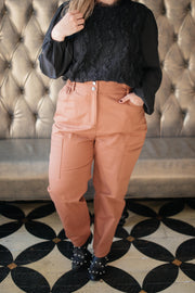 Peighton Paper Bag Pants in Camel - Women's Clothing AfterPay Sezzle KanCan Judy Blue Simply Sass Boutique