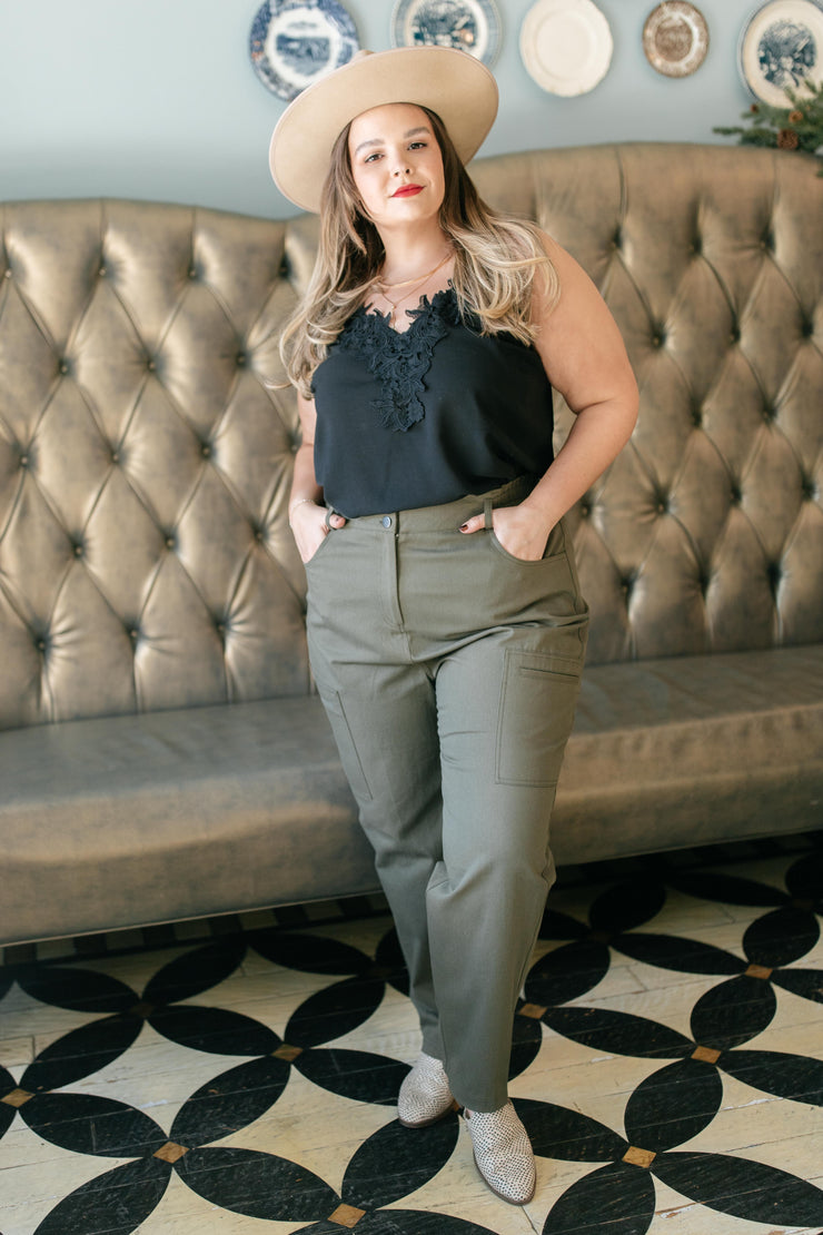 Peighton Paper Bag Pants in Olive - Women's Clothing AfterPay Sezzle KanCan Judy Blue Simply Sass Boutique