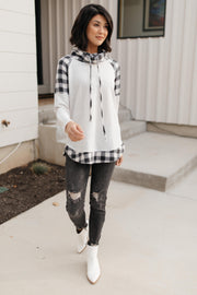 Plaid Details Top in Grey - Women's Clothing AfterPay Sezzle KanCan Judy Blue Simply Sass Boutique