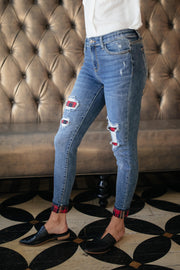 Plaid Peek-A-Boo Jeans - Women's Clothing AfterPay Sezzle KanCan Judy Blue Simply Sass Boutique