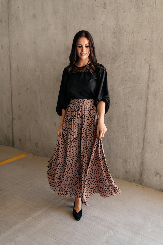 Pleated & Spotted Mauve Midi Skirt - In House - Women's Clothing AfterPay Sezzle KanCan Judy Blue Simply Sass Boutique
