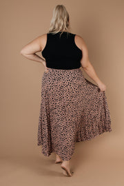 Pleated & Spotted Mauve Midi Skirt - Women's Clothing AfterPay Sezzle KanCan Judy Blue Simply Sass Boutique