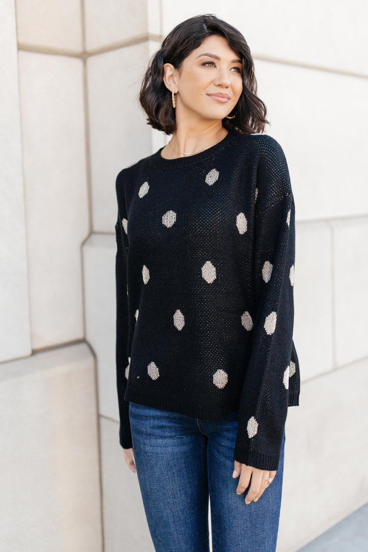 Polka Dots and Knit Sweater - Women's Clothing AfterPay Sezzle KanCan Judy Blue Simply Sass Boutique