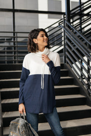 Rise Above Cowl Neck In Blue & White - Women's Clothing AfterPay Sezzle KanCan Judy Blue Simply Sass Boutique