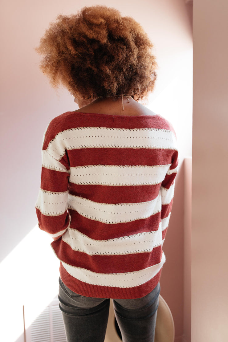 Rust & Relaxation Striped Sweater - Women's Clothing AfterPay Sezzle KanCan Judy Blue Simply Sass Boutique