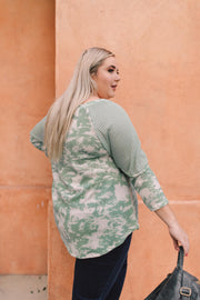 Sage Waffle Knit & Tie Dye Top - In House - Women's Clothing AfterPay Sezzle KanCan Judy Blue Simply Sass Boutique