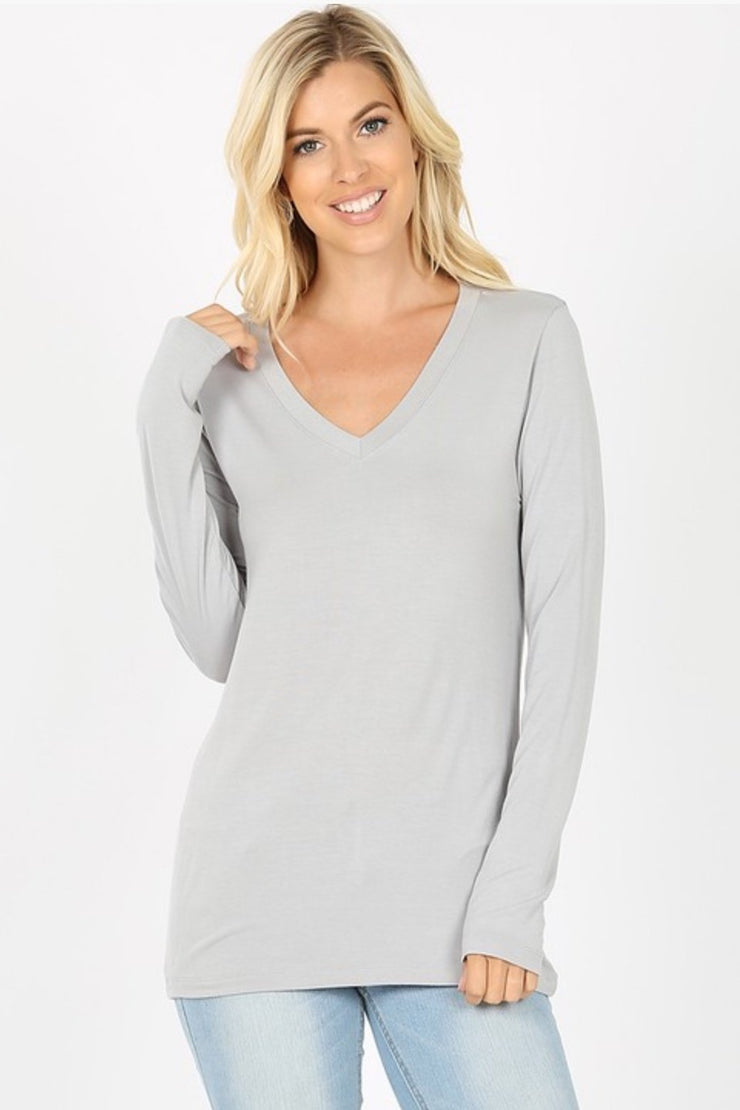 Believe in You Long Sleeve Tee in Grey - In House - Women's Clothing AfterPay Sezzle KanCan Judy Blue Simply Sass Boutique