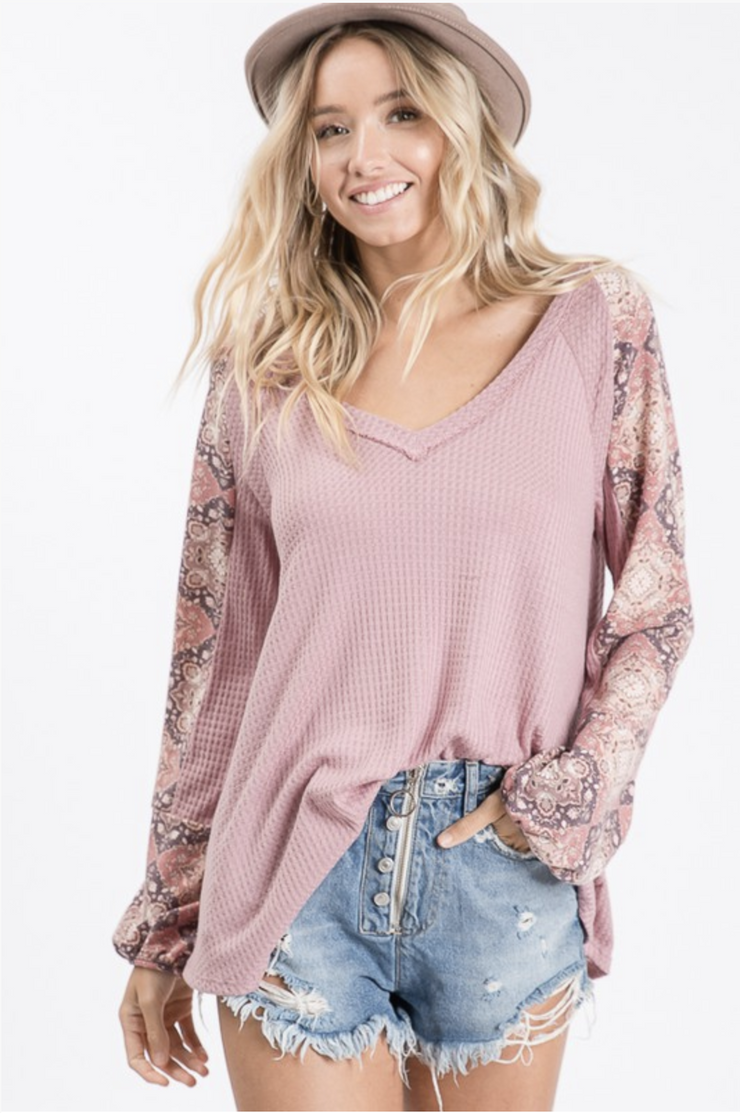 Mauve About You Puff Sleeve Top - In House - Simply Sass Boutique
