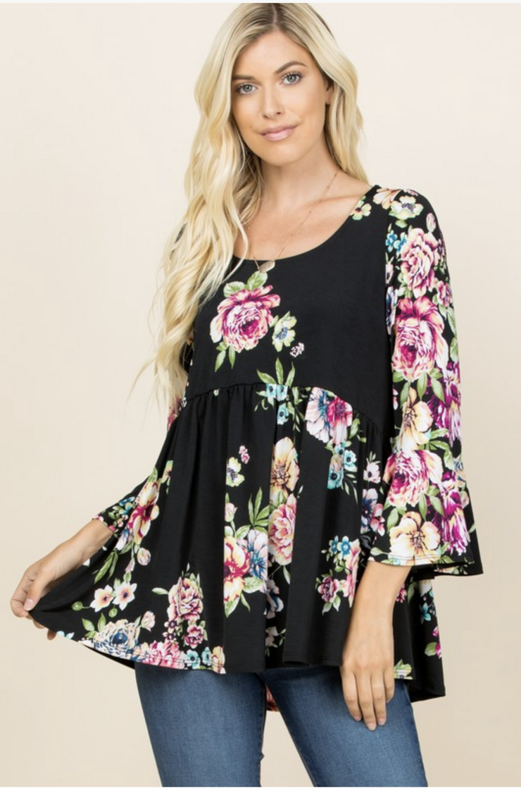Floral Fusion Babydoll Top - In House - Women's Clothing AfterPay Sezzle KanCan Judy Blue Simply Sass Boutique