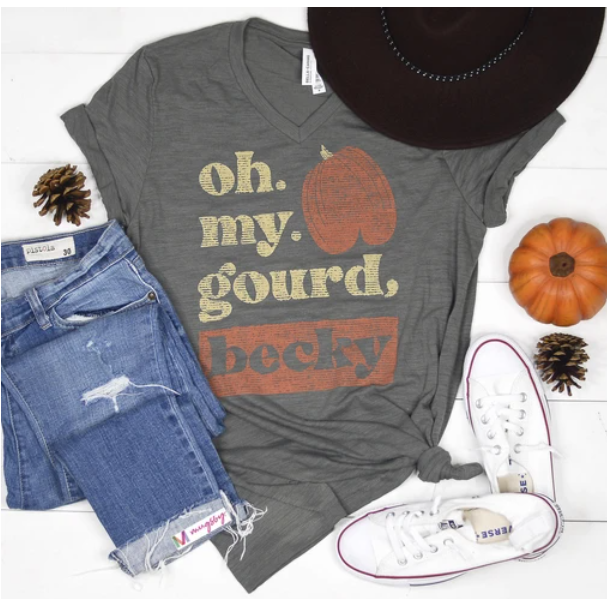 Oh My Gourd, Becky VNeck Graphic Tee - In House - Women's Clothing AfterPay Sezzle KanCan Judy Blue Simply Sass Boutique