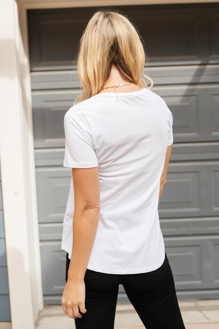Side Strap Tee in White - Women's Clothing AfterPay Sezzle KanCan Judy Blue Simply Sass Boutique