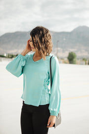 Silky Satin V-Neck Blouse In Aqua - Women's Clothing AfterPay Sezzle KanCan Judy Blue Simply Sass Boutique