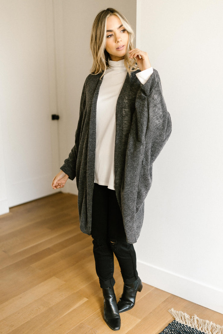 Slouchy Vibe Cardigan in Charcoal - Women's Clothing AfterPay Sezzle KanCan Judy Blue Simply Sass Boutique