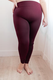 So Soft Inside Leggings in Burgundy - Women's Clothing AfterPay Sezzle KanCan Judy Blue Simply Sass Boutique