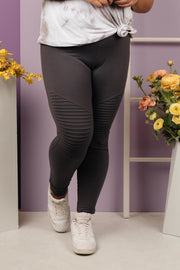 Soft As Butter Moto Leggings in Charcoal - Women's Clothing AfterPay Sezzle KanCan Judy Blue Simply Sass Boutique