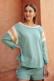 Sporty Stripe Pullover In Mint - Women's Clothing AfterPay Sezzle KanCan Judy Blue Simply Sass Boutique