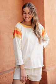 Sporty Stripe Pullover In Oatmeal - Women's Clothing AfterPay Sezzle KanCan Judy Blue Simply Sass Boutique
